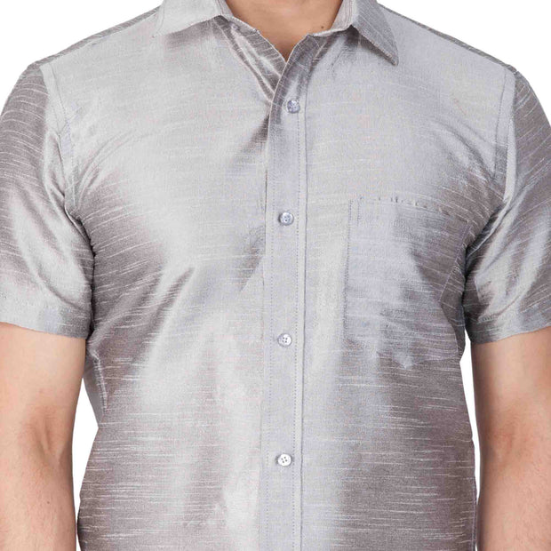 Men's Grey Cotton Silk Blend Ethnic Shirt