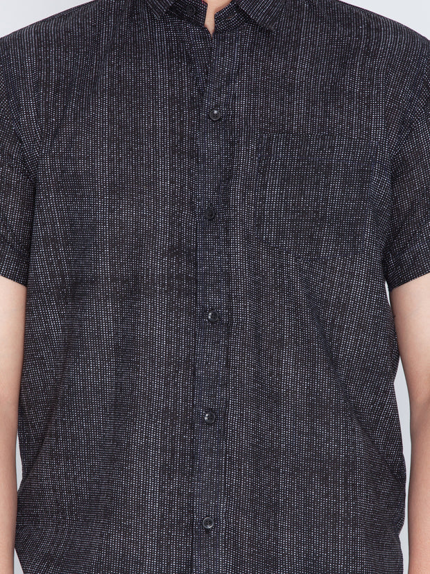Men's Black Cotton Ethnic Shirt