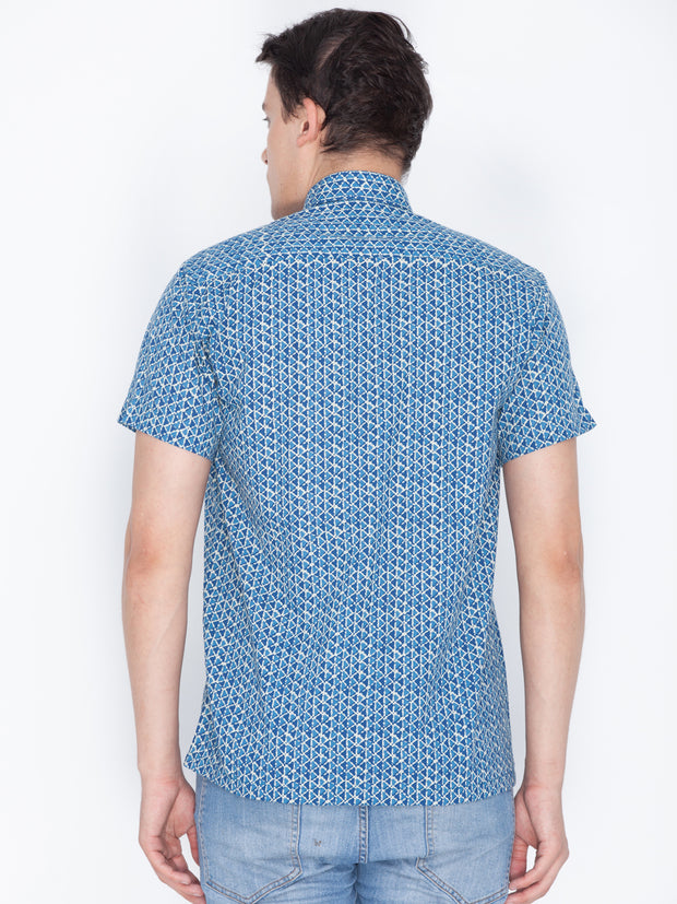 Men's Blue Cotton Ethnic Shirt