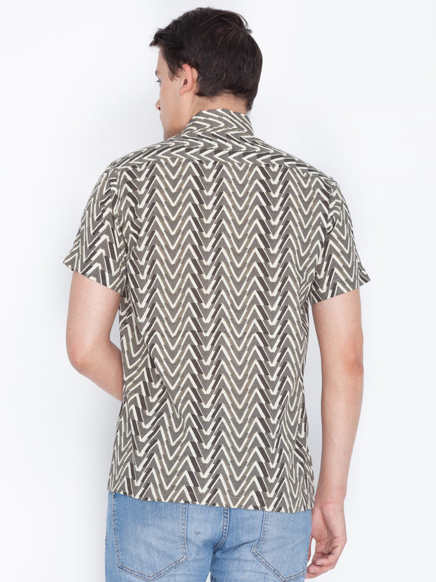Men's Brown Cotton Ethnic Shirt