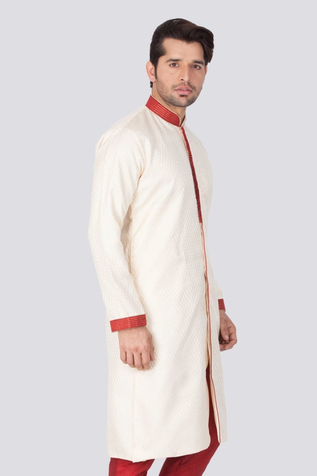 Men's Beige Cotton Silk Blend Sherwani Only Top