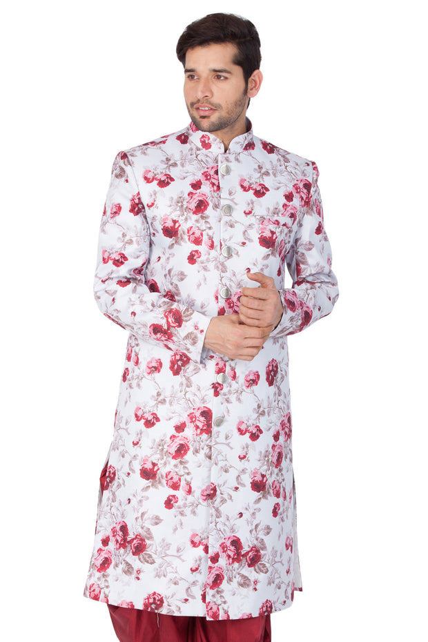 Men's Multicolor Cotton Silk Blend Sherwani Only Top