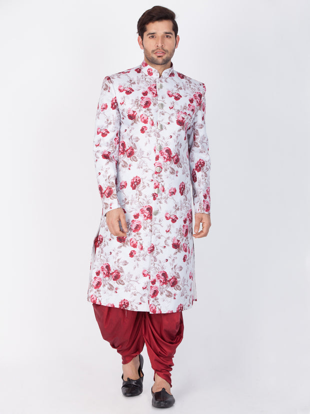 Men's Multicolor Cotton Blend Sherwani Set