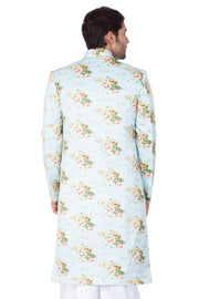 Men's Light Green Cotton Silk Blend Sherwani Only Top