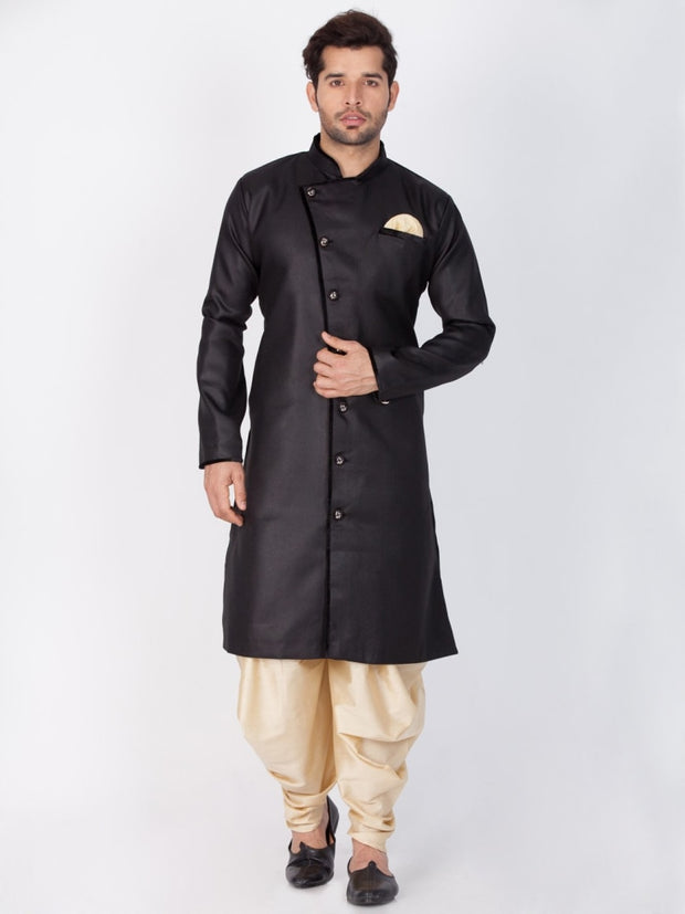 Vastramay Men and Boys Black Cotton Blend Sherwani Style Kurta Set