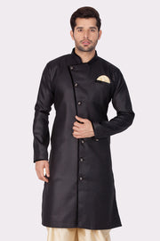 Men's Black Cotton Silk Blend Sherwani Only Top