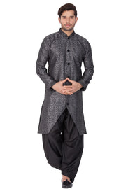 Vastramay Men and Boys Grey Silk Blend Sherwani Style Kurta Set