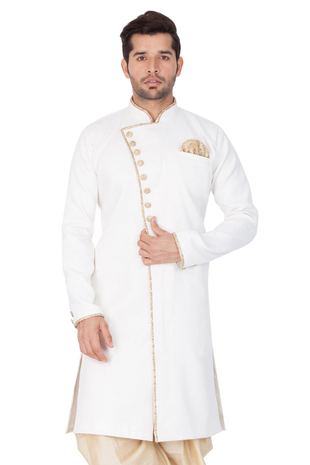 Men's White Cotton Silk Blend Sherwani Only Top