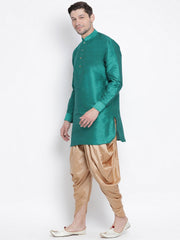 Men's Green Cotton Silk Blend Kurta and Dhoti Pant Set