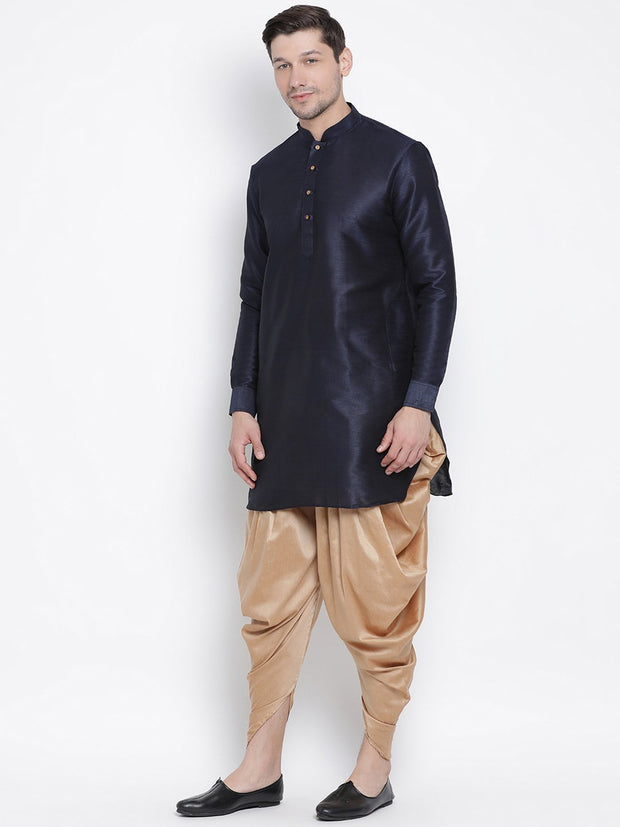 Men's Dark Blue Cotton Silk Blend Kurta and Dhoti Pant Set