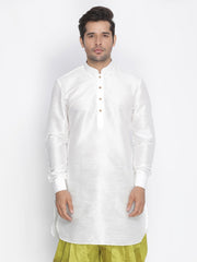 Men's White Cotton Silk Blend Kurta