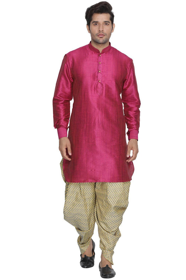 Men's Pink Cotton Silk Blend Kurta and Dhoti Pant Set