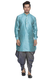 Men's Blue Cotton Silk Blend Kurta and Dhoti Pant Set