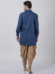 Men's Dark Blue Cotton Kurta and Dhoti Pant Set