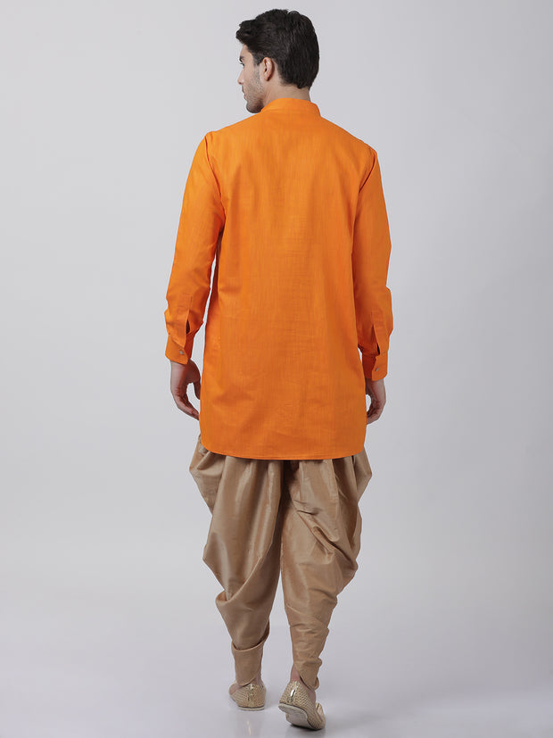 Men's Orange Cotton Kurta and Dhoti Pant Set