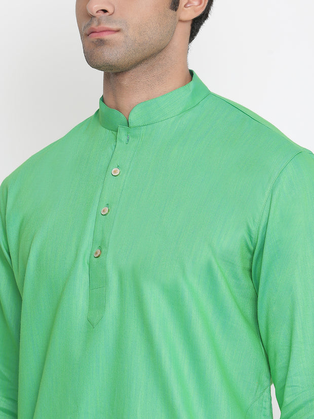 Men's Green Cotton Kurta and Dhoti Pant Set