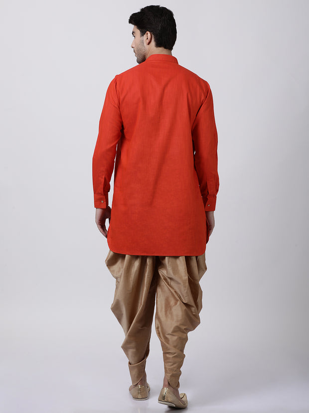 Men's Red Cotton Kurta and Dhoti Pant Set