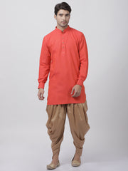 Men's Orange Cotton Kurta