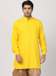 Men's Yellow Cotton Kurta