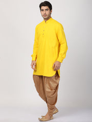 Men's Yellow Cotton Kurta and Dhoti Pant Set