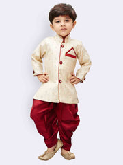Boys' Gold Cotton Silk Kurta and Dhoti Pant Set