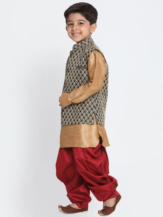 Boys' Gold Cotton Silk Blend Ethnic Jacket, Kurta and Dhoti Pant Set