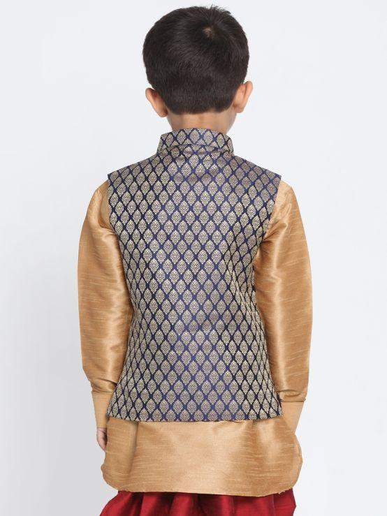 Blue Cotton Silk Blend Nehru Jacket