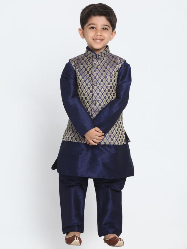 Boys' Dark Blue Cotton Silk Blend Kurta, Waistcoat and Pyjama Set