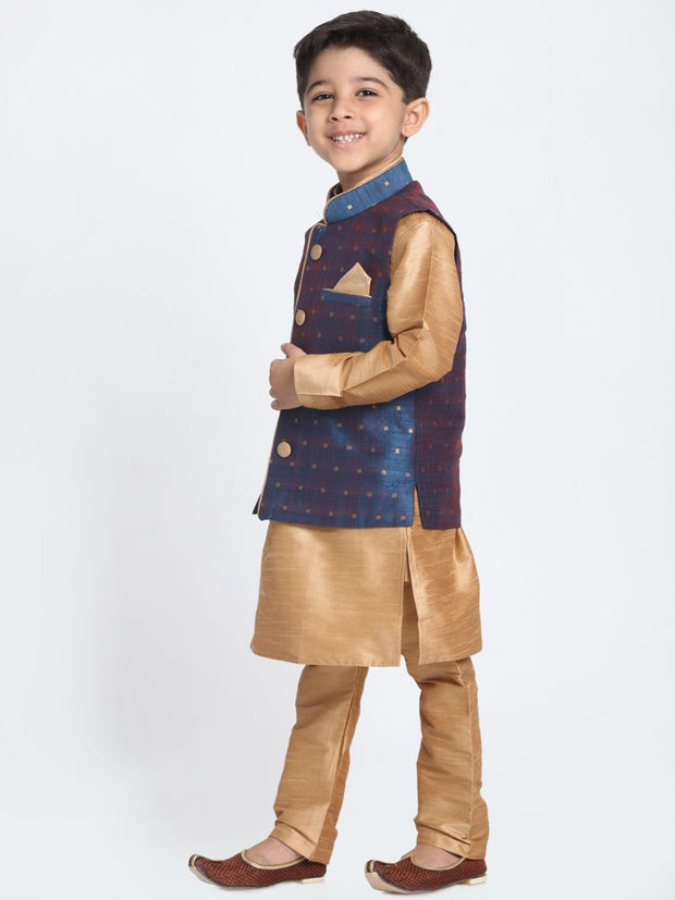 Boys' Deep Blue Cotton Silk Blend Kurta, Waistcoat and Pyjama Set