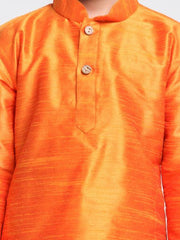 Boys' Orange Cotton Silk Blend Kurta and Pyjama Set