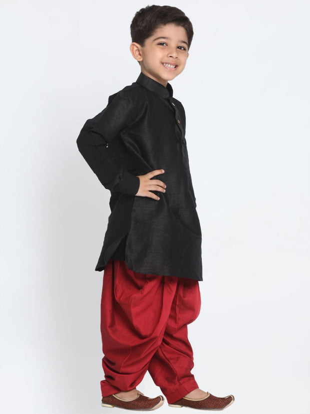 Boys' Black Cotton Silk Blend Kurta and Dhoti Pant Set