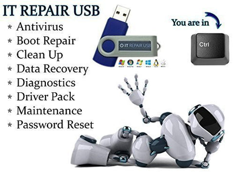 IT Computer Repair - Antivirus Recovery Password Reset PC Repair Drivers Bootable Boot USB Drive - Windows Password Reset