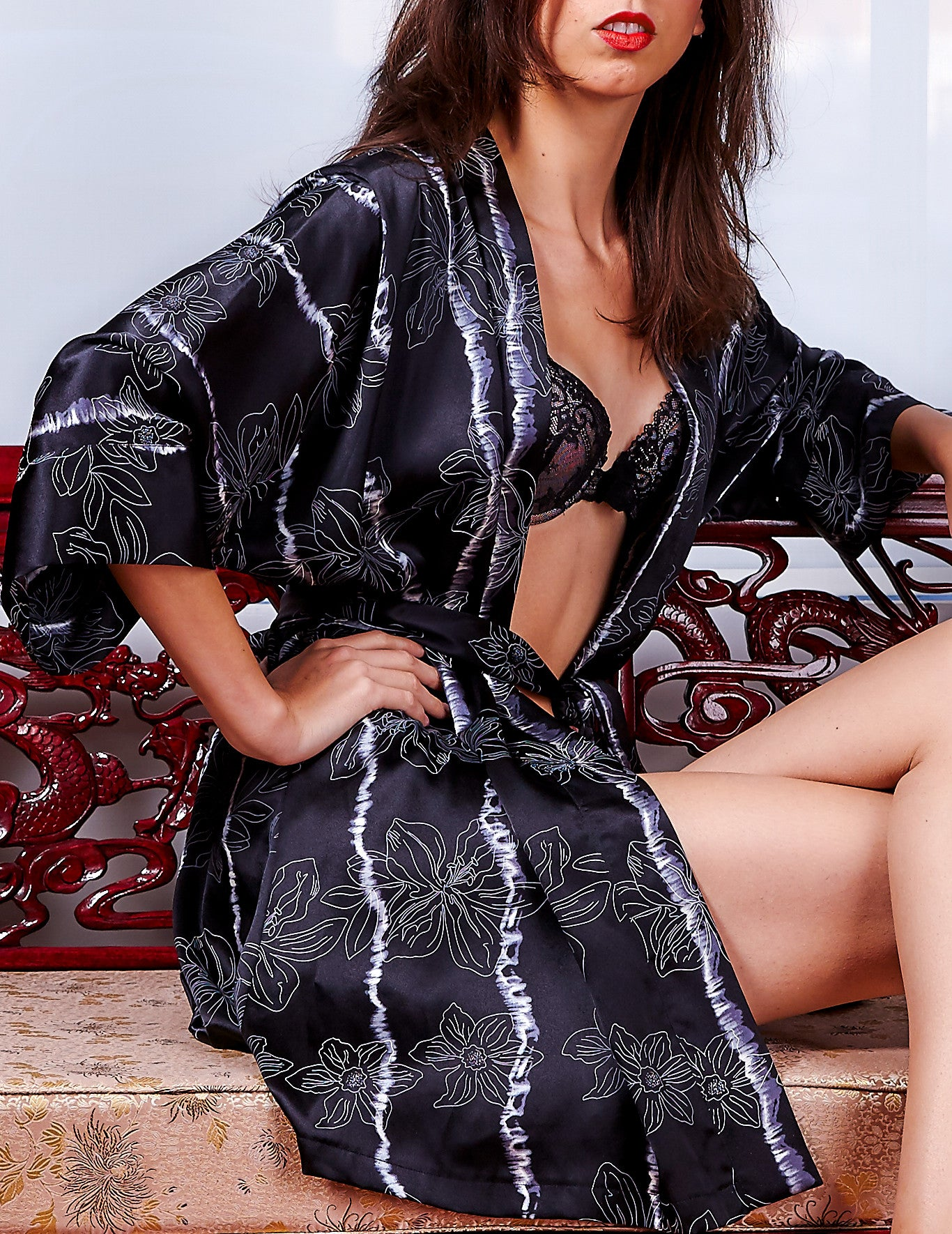 Black Flower silk robe