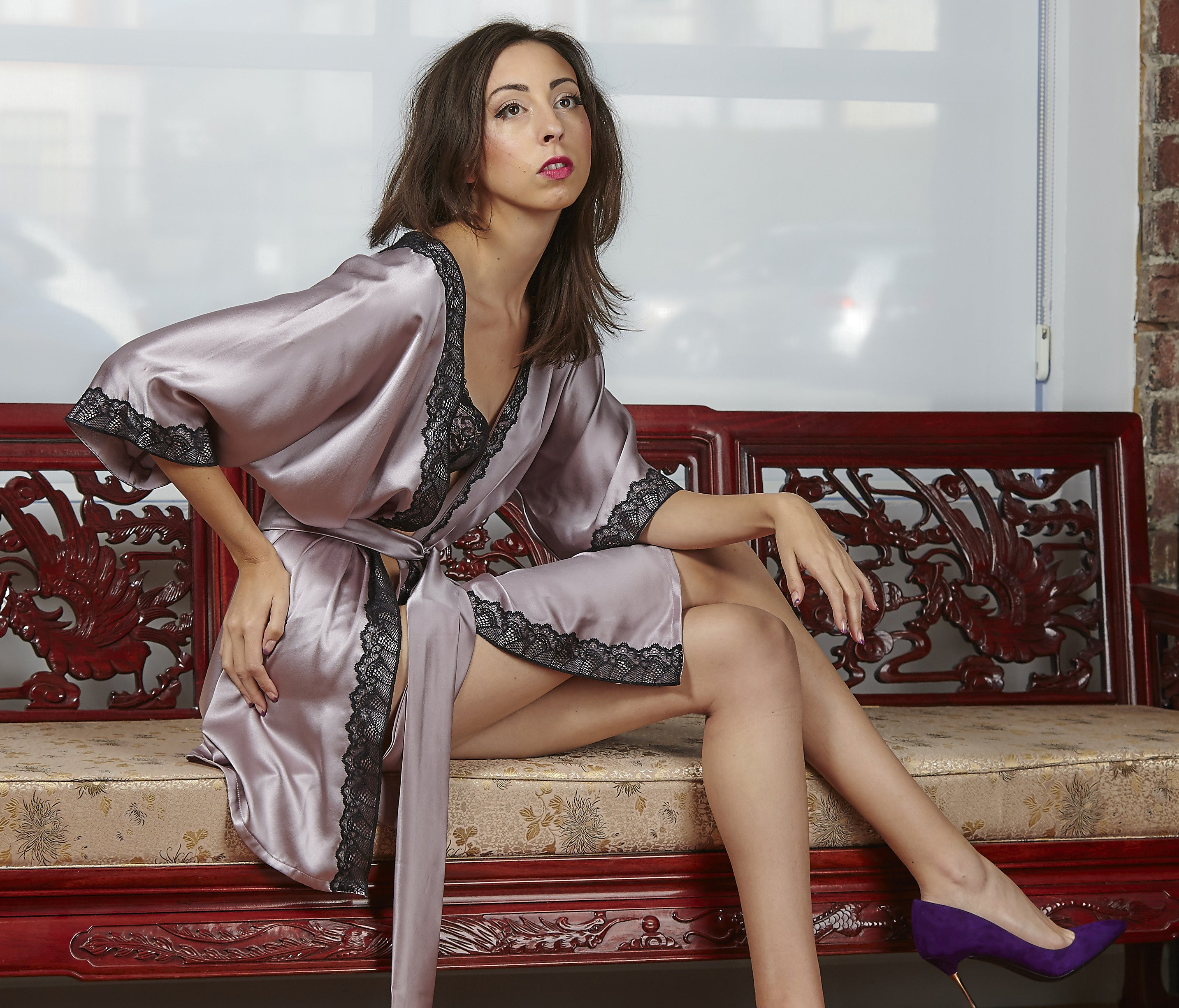 Mauve Silk with French Lace Robe