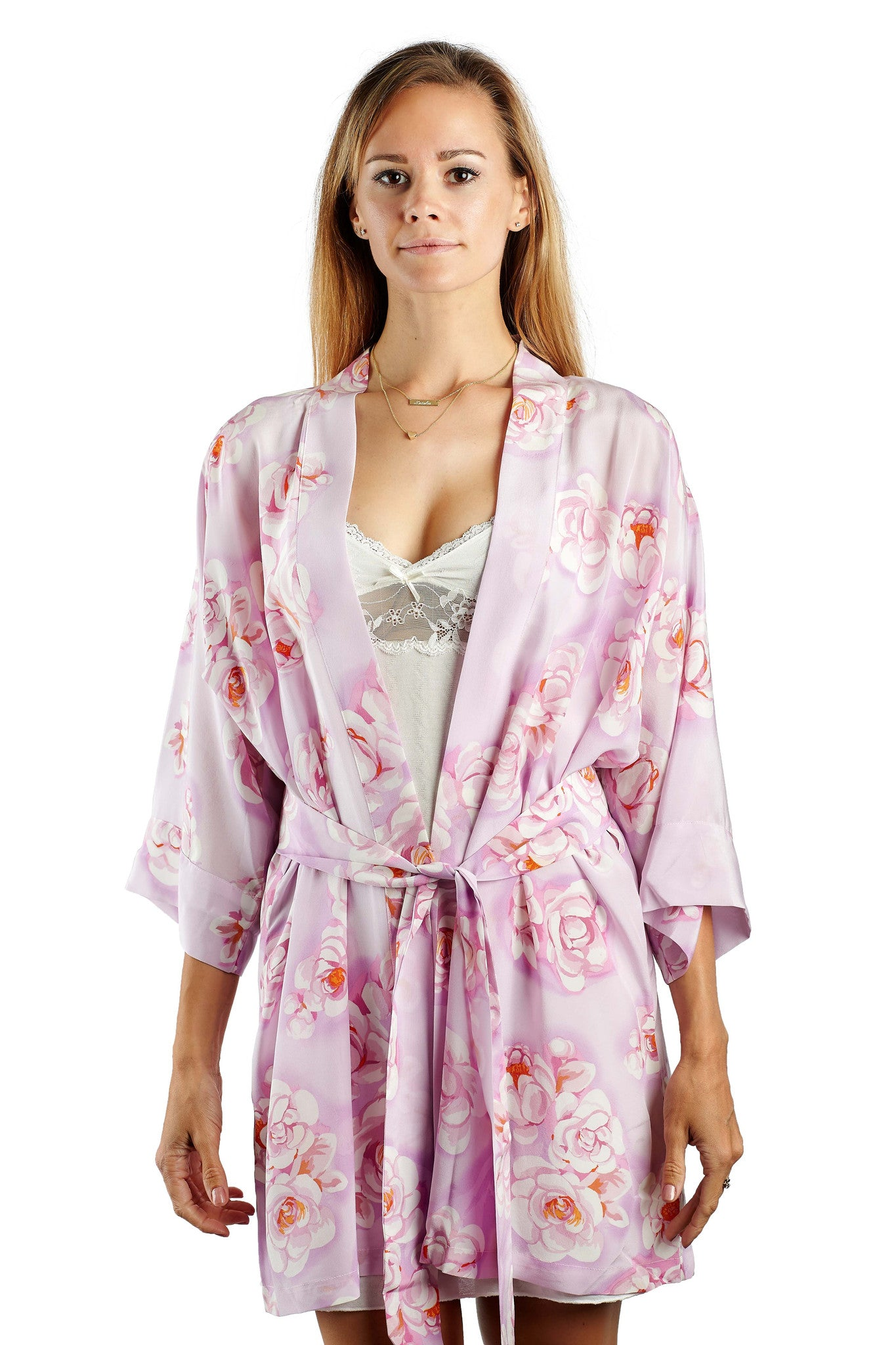 Rose Petal Pure Silk Short Robe