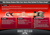 Badass Moto Gear Heavy Duty Ratchet Tie Down Straps - Badass Moto Gear