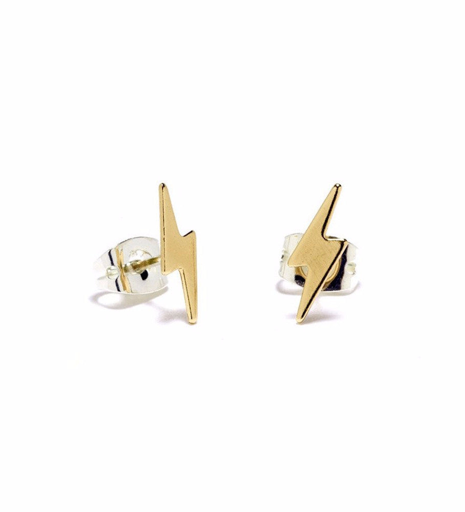 Lightning Bolt Studs / Gold
