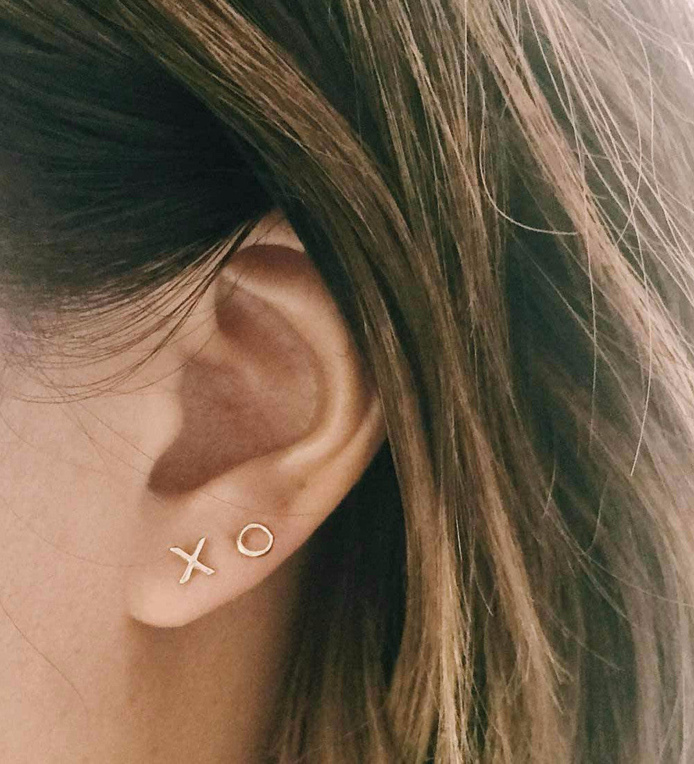 Tiny XO Studs / Rose Gold