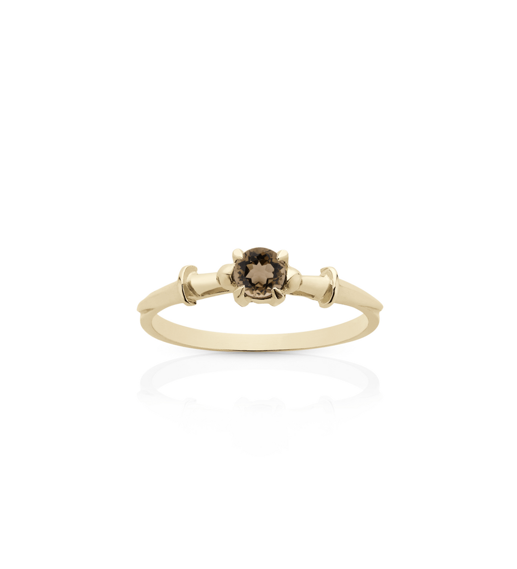 Dagger Solitaire Ring Smoky Quartz / Gold