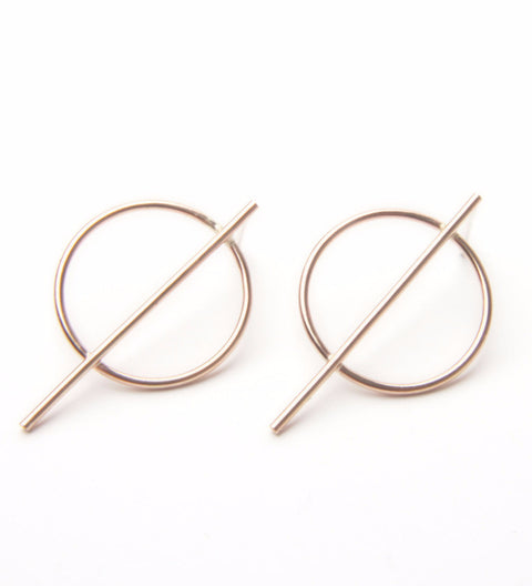 Circle Line Earrings / Gold