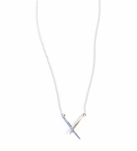 Crossed Twist Spike Necklace / Silver