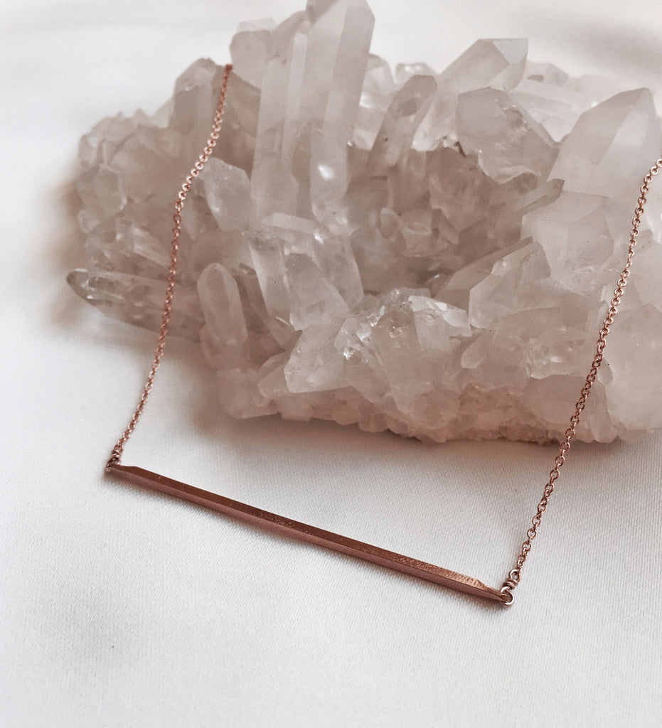 Tiny Bar Necklace / Rose Gold