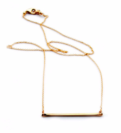 Tiny Bar Necklace / Gold