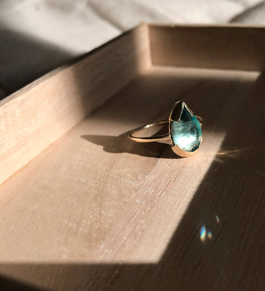 Blue Topaz Teardrop Ring / Gold