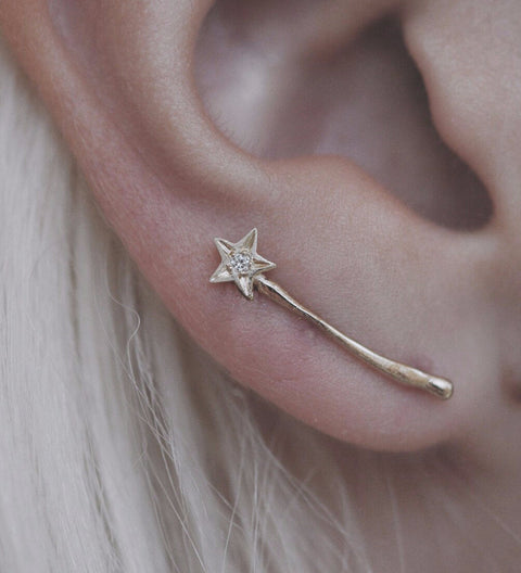 Magic Wand Ear Climber / Gold