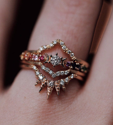 Rainbow Stardust Ring / Gold
