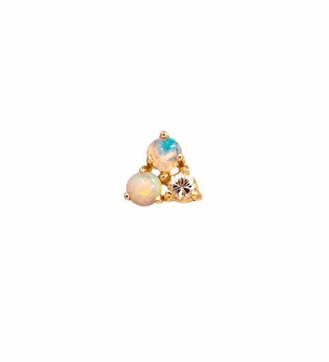 Tri-Opal And Diamond Earring / Gold