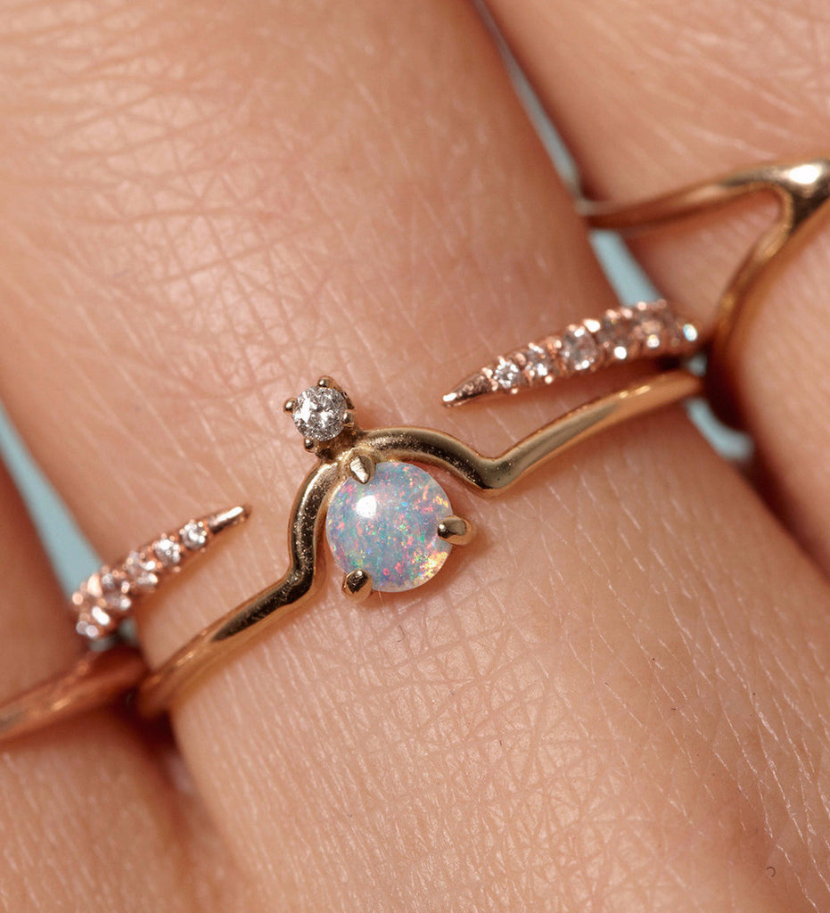 Nestled Opal And Diamond Ring / Gold