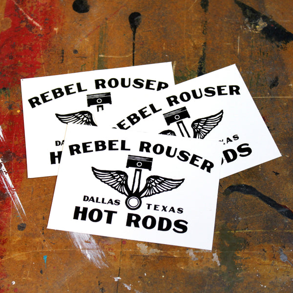 Sticker Rebel Rouser Hot Rods Winged Piston