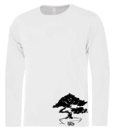 Bonsai Men's White LS T-shirt